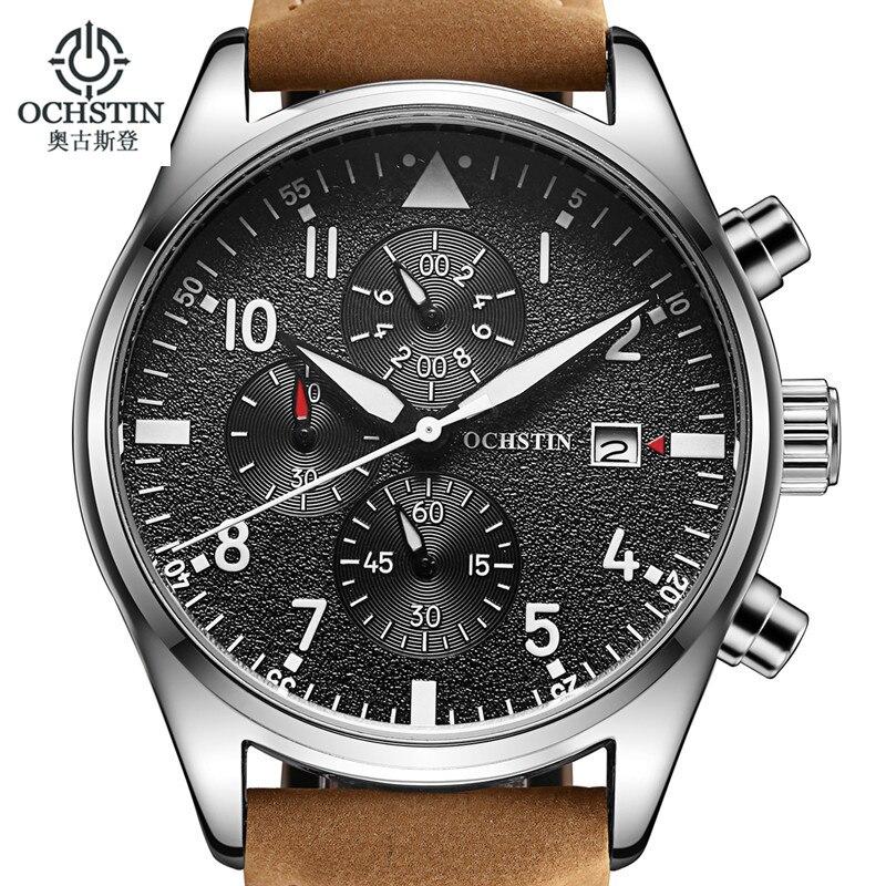742f8350e9a7a Relogio Masculino OCHSTIN montre hommes d'affaires chronographe Date  lumineuse montre bracelet hommes de luxe marque en cuir montre à Quartz  dans Montres de ...