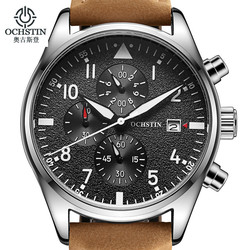 Relogio Masculino OCHSTIN zegarek mężczyźni biznes Chronograph data zegarek luminescencyjny męskie luksusowa marka skórzany zegarek kwarcowy w Zegarki kwarcowe od Zegarki na