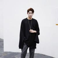 Fall T Shirt Fashion Men 2017 Special Design Cut Out Long Sleeve Black T Shirt Top