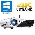 3D DLP HD 4 K Proyector Windows 10 WIFI Proyector 2500 lúmenes de Cine En Casa Proyector de Vídeo Dual Bluetooth WIFI Beamer con HDMI