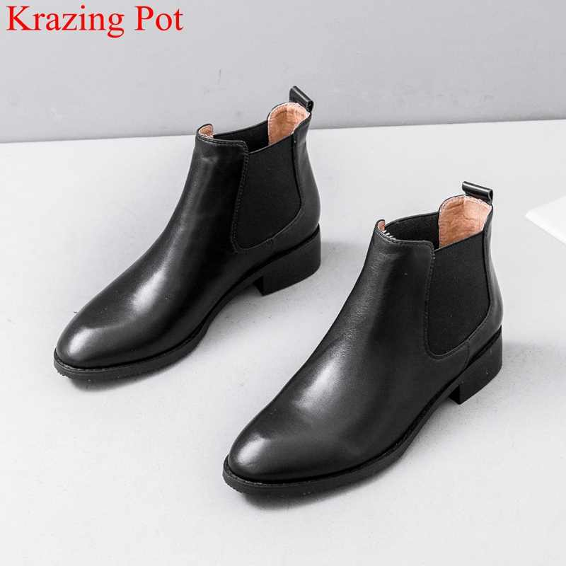 Hakiki deri yuvarlak ayak kayma med topuklu kadın yarım çizmeler muhtasar pist Chelsea çizmeler ofis bayan zarif kış ayakkabı L13