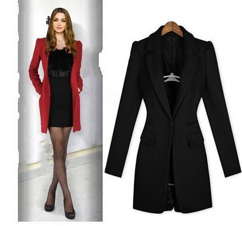 e8b7a202595 Hot Plus size S XXL Black red New 2014 Autumn Winter Slim Woolen suit jacket  Long Wool Blazer Women Blazers Free shipping B2429-in Blazers from Women s  ...