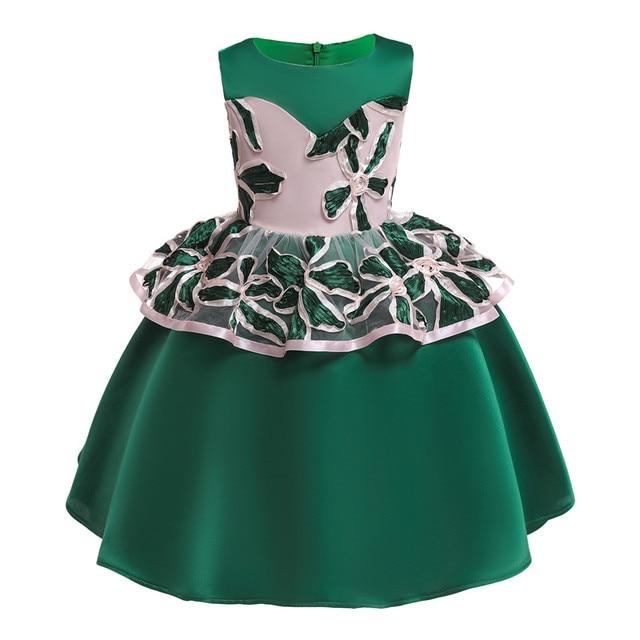 a0c537e00e58f Elegant Green Sleeveless Kids Beautiful Ball Gown Dress Children's Girl  Embroidered Evening Dresses Children's Wed Clothing