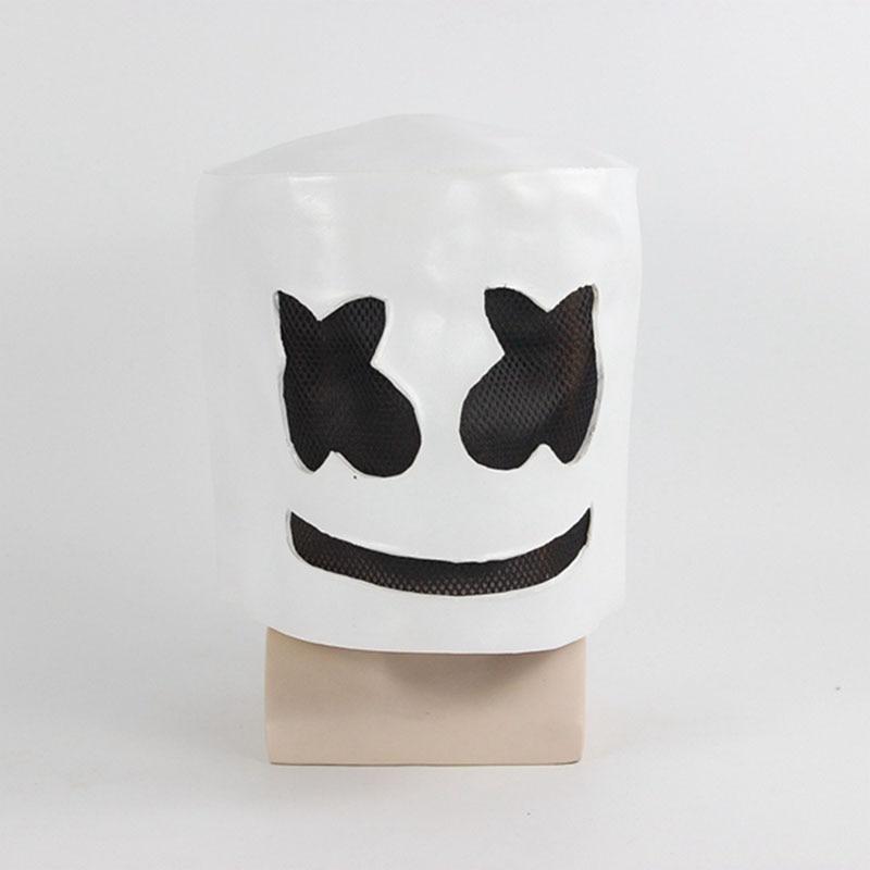 DJ Marshmello White Mask Halloween Carnival Cosplay Helmet Costume Accessories Full Head Latex Prop