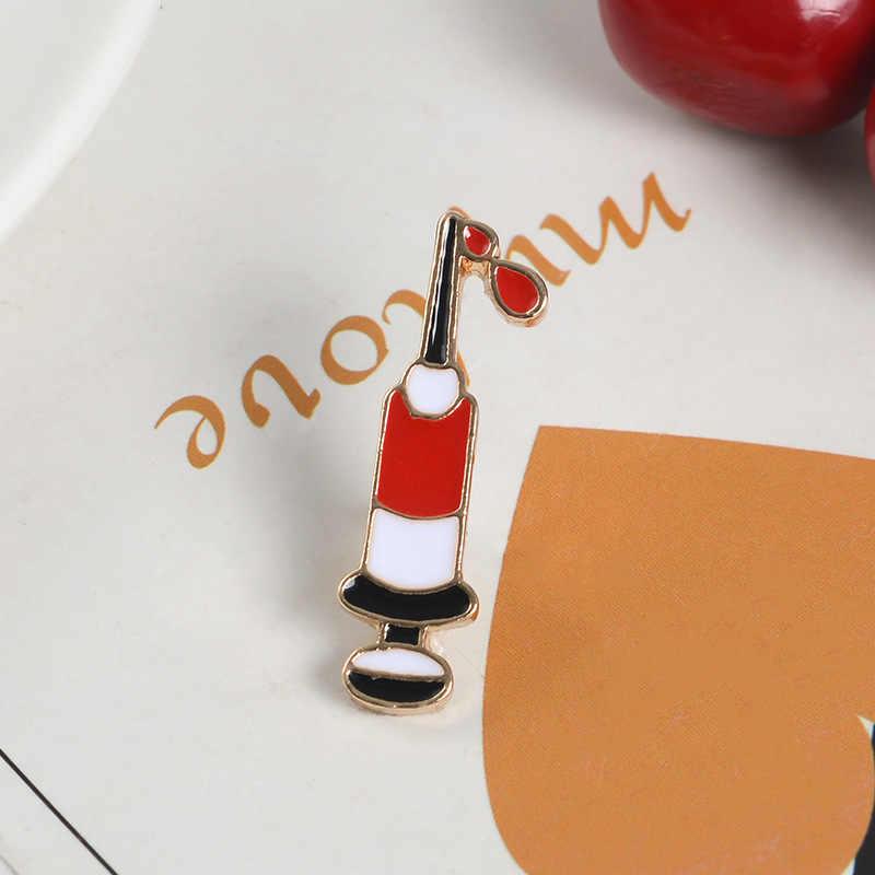Siringa Dello Smalto Spilli disegno sangue Spille Button Badge Bag Abbigliamento Accessori Dei Monili del Regalo Medica per Ematologia Medico Infermiere