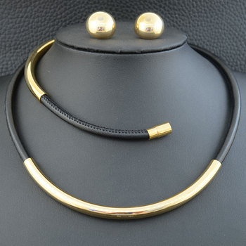 Moda ze stali nierdzewnej zamek magnetyczny 45CM urok skórzany naszyjnik wisiorek i bransoletka kolczyki komplet biżuterii damskiej SEDLBDCI