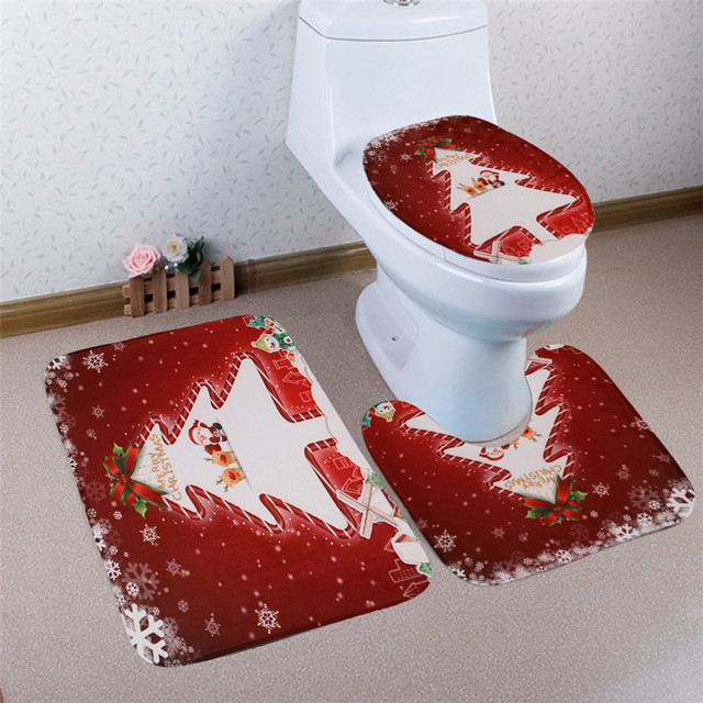 new non slip bathroom set 3pcs christmas bathroom non slip pedestal rug lid