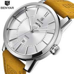 Relogio Masculino BENYAR Luxury Brand Analog Display Date Men's Quartz Watch 30M Waterproof Genuine Leather Strap Casual Watch