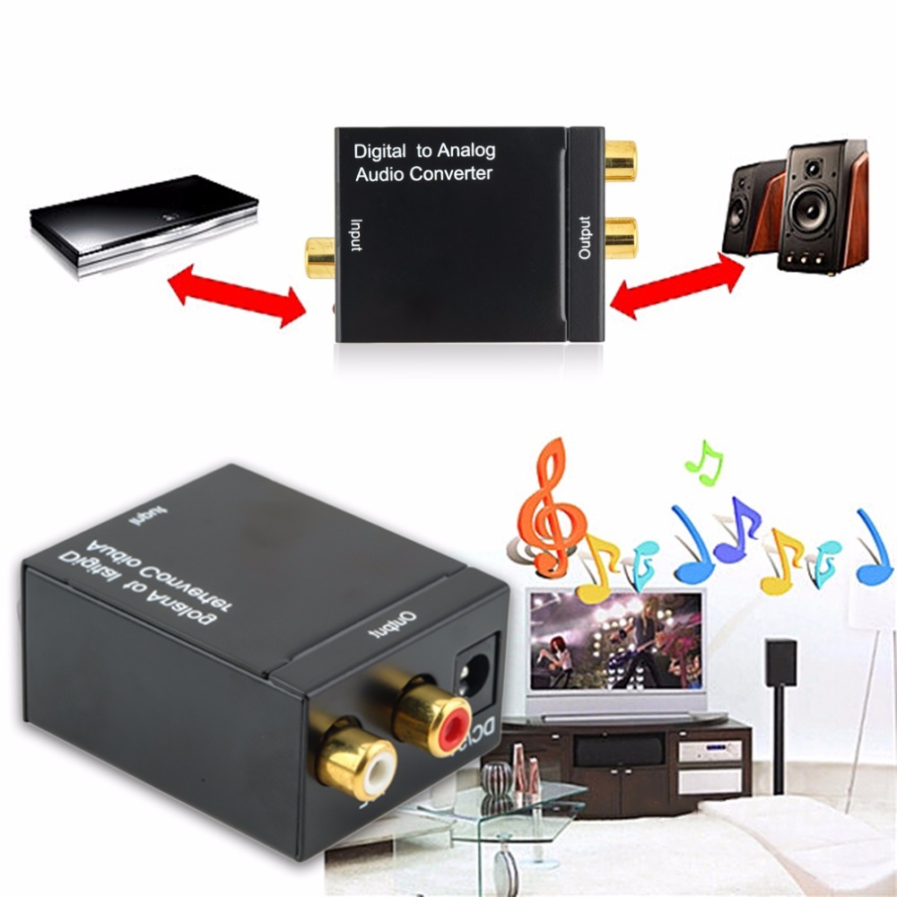 Hot Digital Optical Coaxial Toslink Signal to Analog Audio Converter Adapter RCA Digital To Analog Audio Converter Cable Black