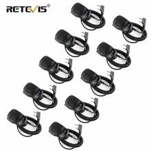 10 pçs por atacado walkietalkie alto falante microfone 2pin ptt mic 3.5mm fone de ouvido jack para kenwood/baofeng UV 5R/retevis rt5r h777 rt3