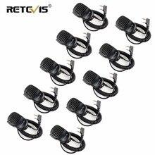 10pcs סיטונאי מכשיר קשר רמקול מיקרופון 2Pin PTT מיקרופון 3.5mm אוזניות שקע לkenwood/Baofeng UV 5R/Retevis RT5R H777 RT3