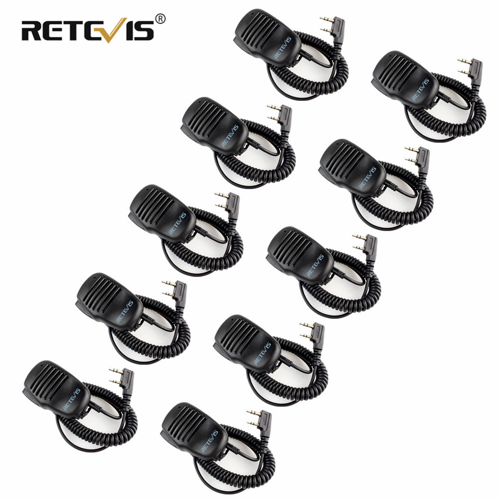 10pcs Wholesale WalkieTalkie Speaker Microphone 2Pin PTT Mic 3.5mm Earphone Jack For Kenwood/Baofeng UV-5R/Retevis RT5R H777 RT3