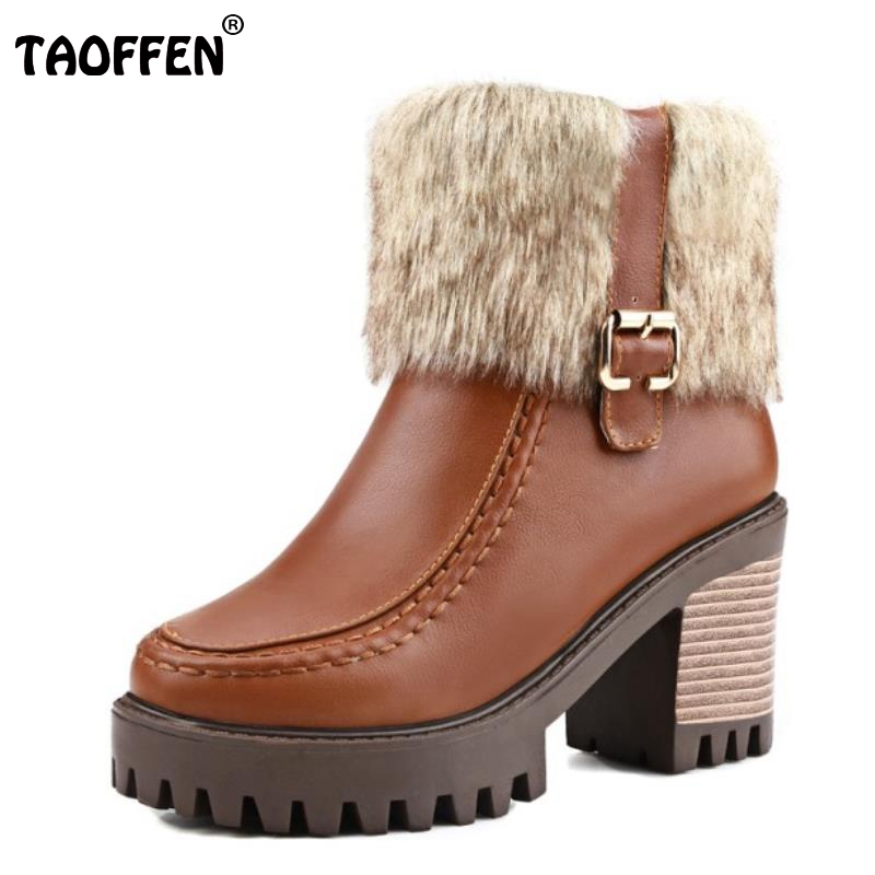Women Square Heel Ankle Boots Fashion Around Fur High Heel Shoes Woman Winter Warm Zip Martin Boots Low Platform Shoes Size34-44 women round toe thick heel ankle boots woman new fashion platform martin botas winter warm fur footwear shoes size 34 43