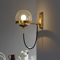 Nordic Retro Loft Industrial Wind Circle Wrought Iron Glass Ball LED Wall Lamp For Bedroom Bedside Dining Hallway Hotel Lighting