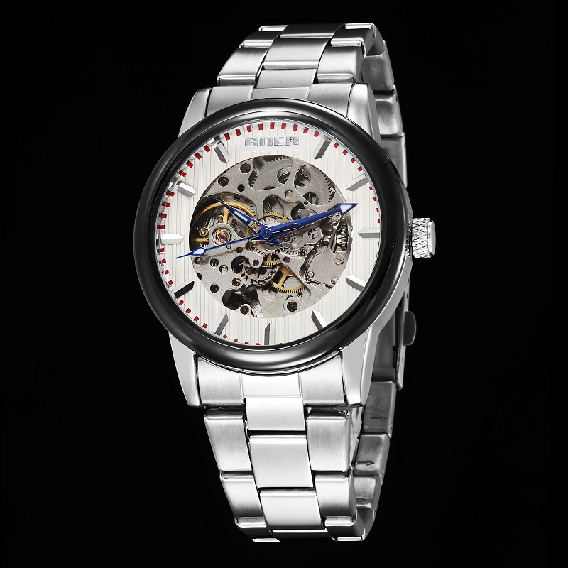 GOER brand Men s Stainless Steel wrist watch sports waterproof mechanical Automatic male Luminous Skeleton Watch