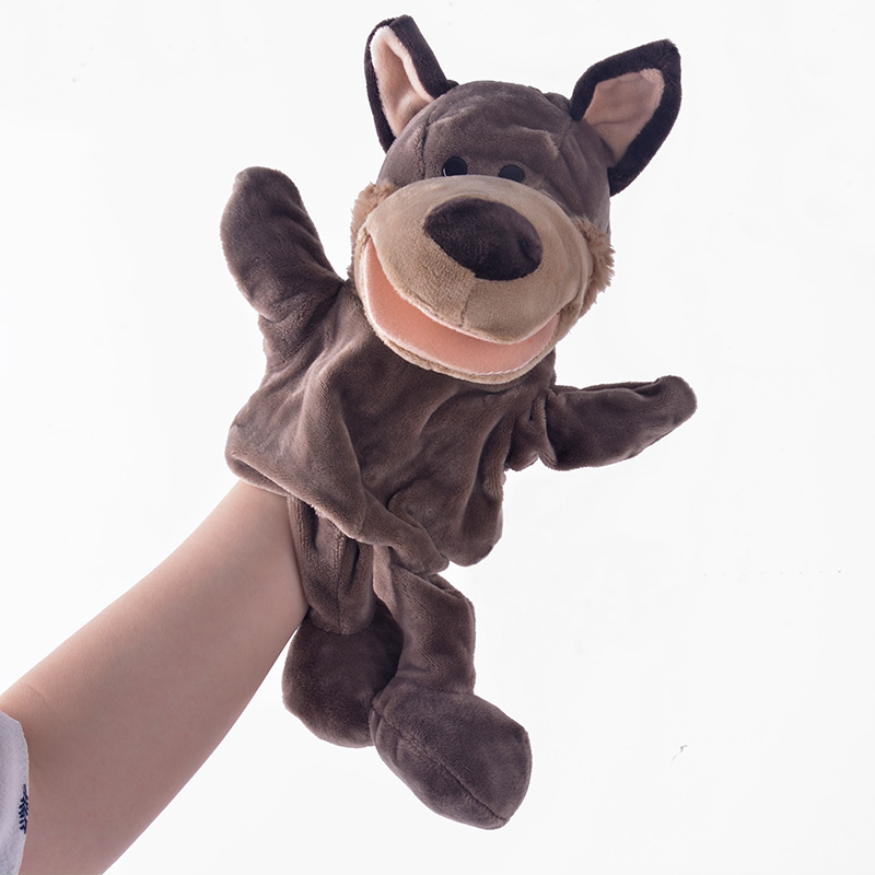 Wolf Toys For Boys : Plush hand puppets simulation animal grey wolf