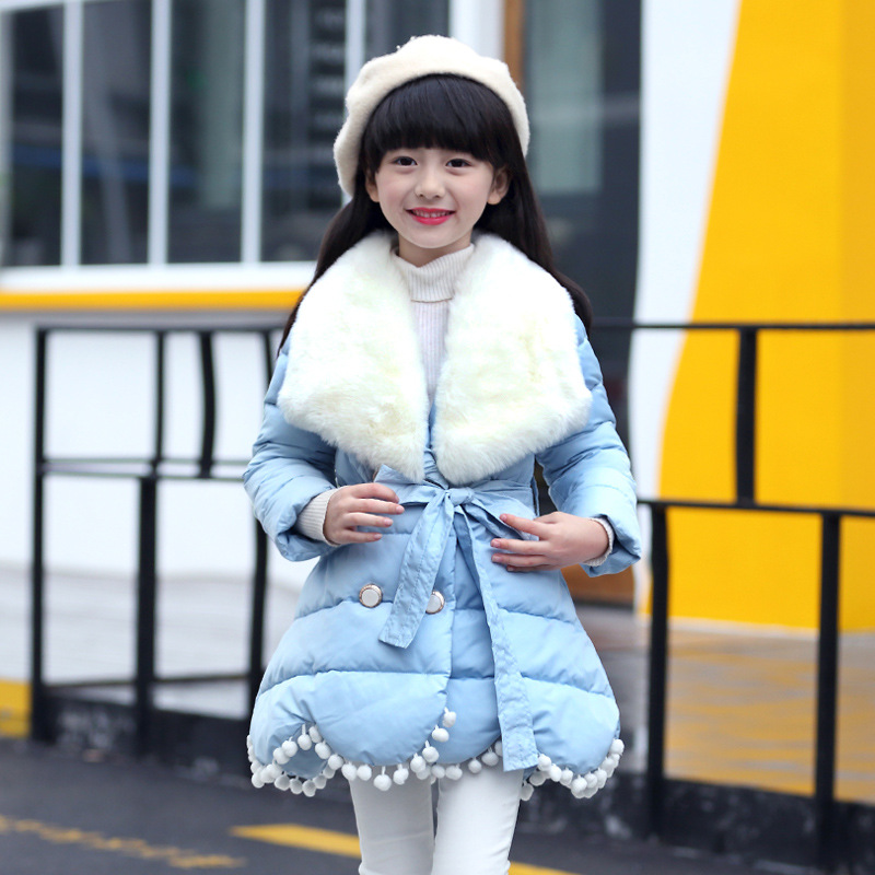 2017 Winter Children's Clothing Kids Cotton Outerwear Girls Wadded Jacket Child  Thickening Cotton-padded Coat pink blue