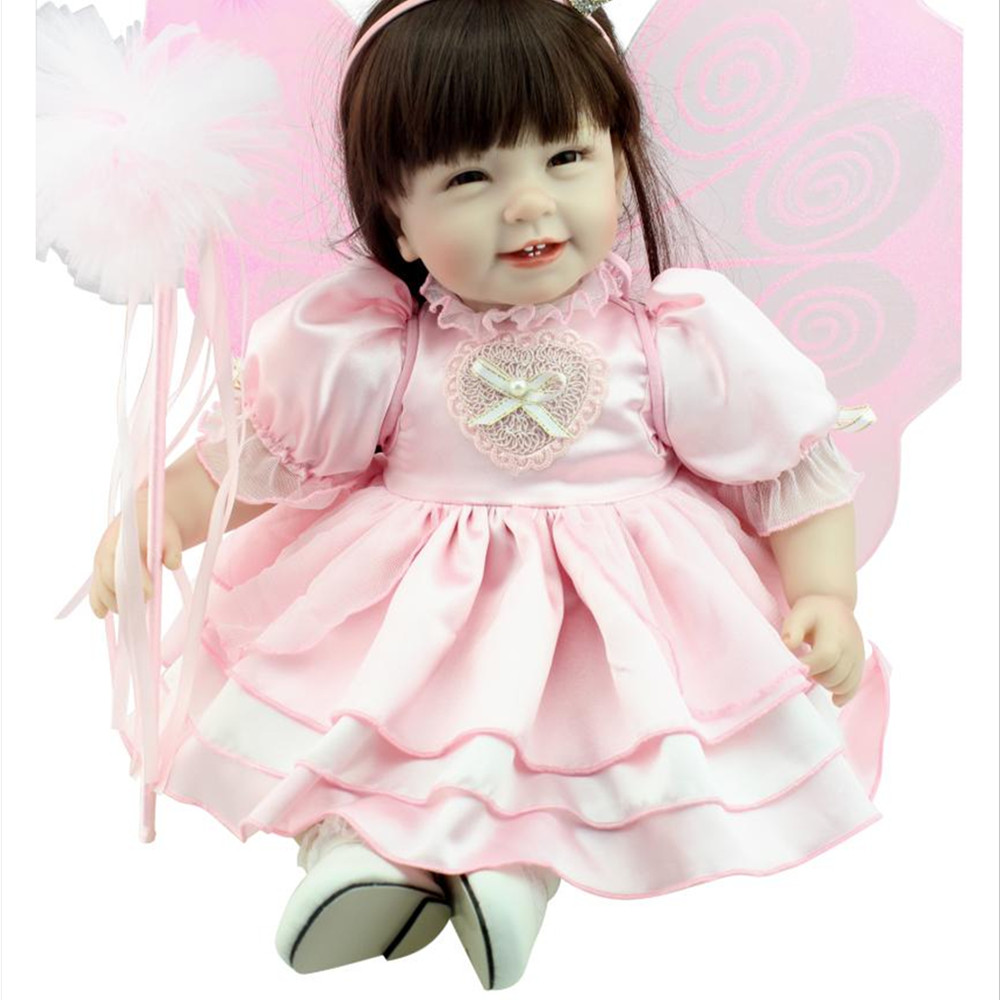 50cm Fashion Girls Doll Smile Baby Toys for Children's Christmas Gift,20 Inch Lovely Princess Doll with Pink Dress Free Shipping navy monkey with smile