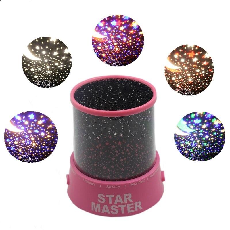 5V USB RGB Night Light Led Lamp Children Kids Baby Sleep Led Rgb Lamp Romantic Colorful Projector Starry Sky Star Moon Master
