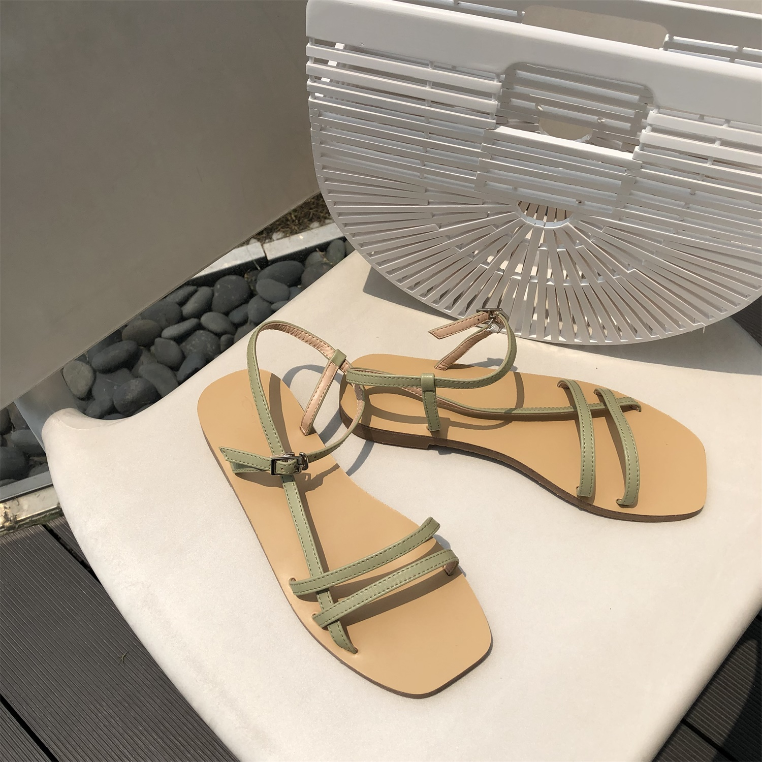 Women Summer Sandals Roma Lace Up Peep Toe Flat Sandals Casual Platform Gladiator Slingback Sandals Narrow Band Slides Shoes in Women 39 s Sandals from Shoes