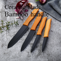 4 piece Ceramic knife black blade Bamboo handle KITCHEN KNIVES chef's Knife Peeler blade + Cooking Set multi color High Quality