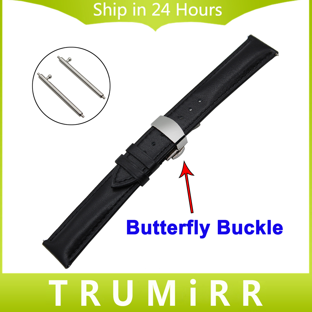 22mm Quick Release Watchband for Moto 360 2 2nd Gen 46mm Men 1st Layer Genuine Leather Watch Band Butterfly Clasp Strap Bracelet polar soft strap st xxxl gen