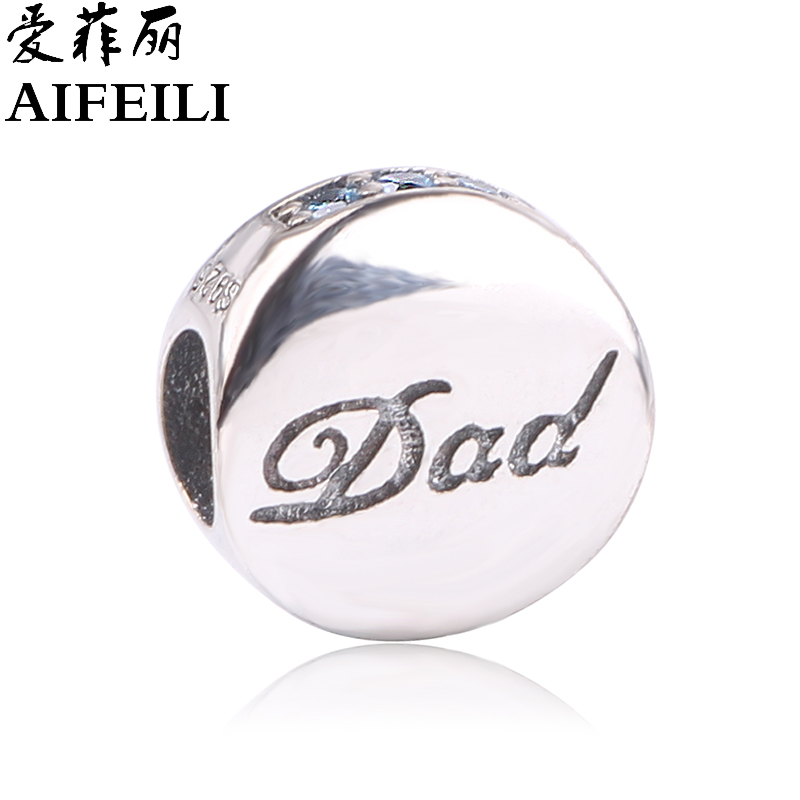 AIFEILI DIY Beads for Dad Fit Pandora Charms Original Bracelet New Beads for Jewelry Making Women 925 Sterling Silver
