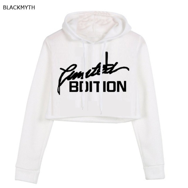 e8b6fe447a7e5 BLACKMYTH Women tops sweatshirt Hoodies BDITION Gray Crop Hooded top long  sleeve girls