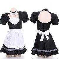 Sexy Women Maid Uniform Dress Japanese Style Lolita Bowknot Lace Ruffle Backless Dress Summer Short Sleeve Suit