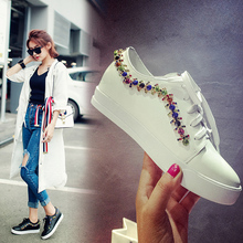 Women's Platform Flats Genuine Leather Lace-up Leisure Espadrilles Shoes for Women Designer Rhinestone Comfort Female Footwear