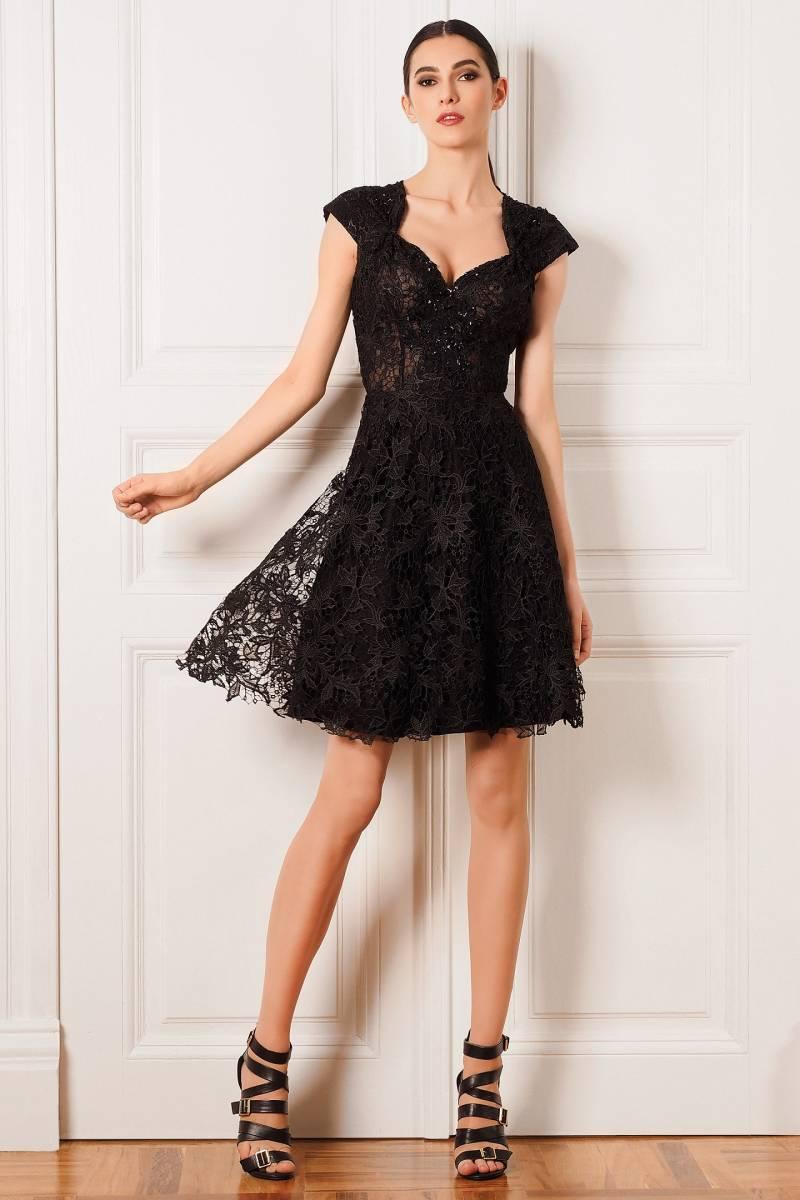 2016 Black Cap Sleeve Sweetheart font b Cocktail b font font b Dresses b font Lace