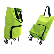 1PCS Shopping Trolley Bag With Wheels Portable Foldable Luggage Packet Drag Collapsible Travel