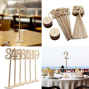 1-40 Wooden Number Seat Card Wedding Party Tableware Supplies Wood Digital Meeting Seat Table Ornaments Festival Decoration