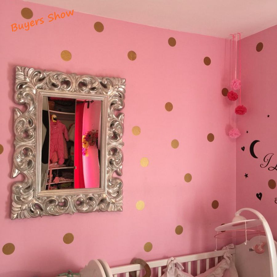 polka dot wall sticker gold wall decal peel and stick. Black Bedroom Furniture Sets. Home Design Ideas