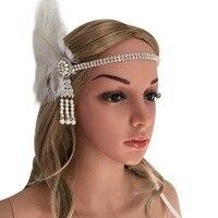 Retro Women Girls White Feather Rhinestone Faux Pearls Headband Hair Band Hair Accessories