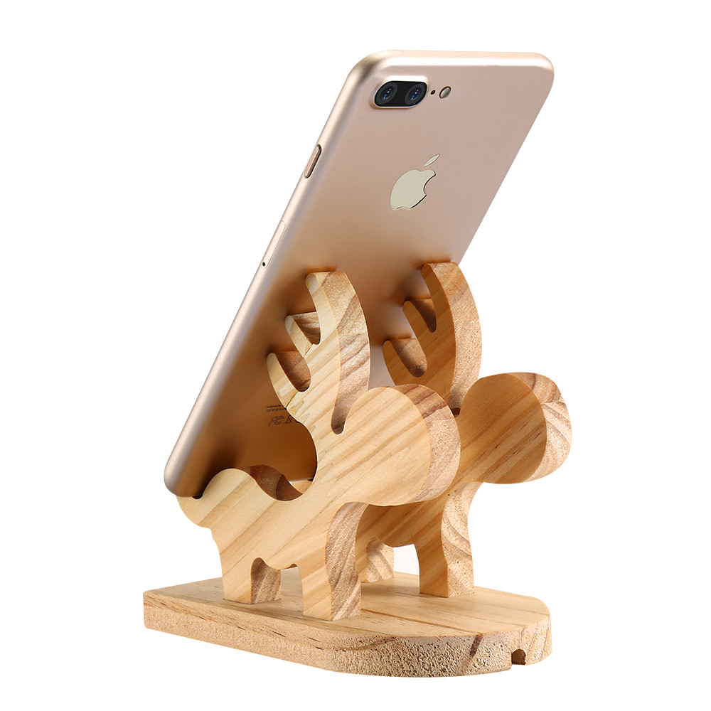 Genuine Wood Cute Deer Styling Holder For Phone Universal Mobile Phone Holder Stand For iPhone X 7 8 Plus For iPad Mini 4 Holder