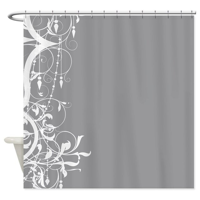 Shabby Chic Grey Chandelier Decorative Fabric Shower Curtain Set House  Doormats For Living Room Anti