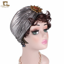 New fashion Luxury Metallic Shinny Ruffle Turban Women Head Wrap Cap With Jewel Accessory Lady Hijab turbante