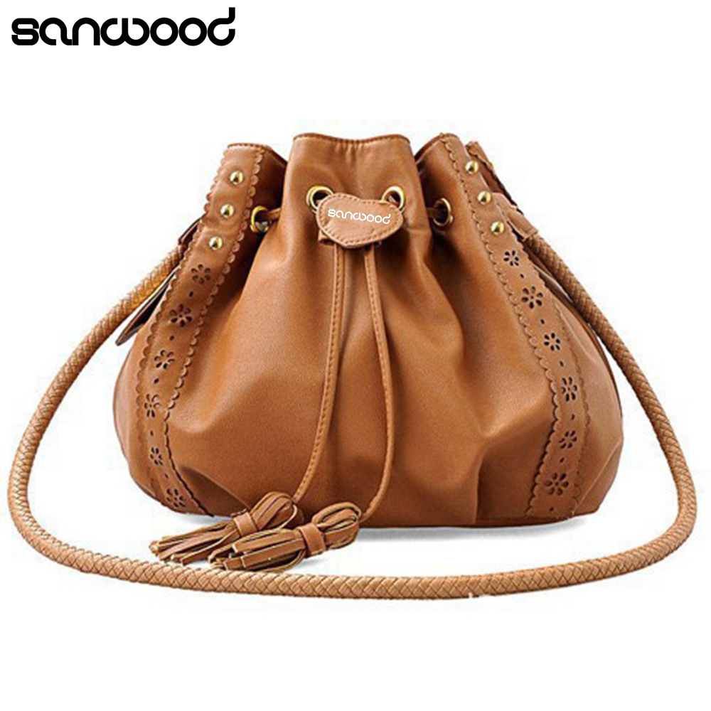 New Hot Women Vintage Faux Leather Bucket Crossbody Shoulder Bag Purse Hobo Handbags yuanyu 2018 new hot free shipping real python leather women clutch women hand caught bag women bag long snake women day clutches