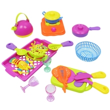 18Pcs Toys Children Diy Beauty Kitchen Utensils Set Cooking Simulation Model Kitchen Pretend Play Set цена