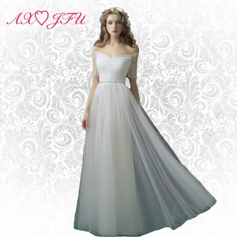 AXJFU花嫁ホワイトレースのイブニングドレスの七面鳥のステージロングイブニングプリンセスビーズクリスタルイブニングドレスYSGZ169