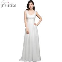 Babyonline Real Photo Long Chiffon Beach Wedding Dresses 2017 Boho Bridal Gowns Sexy Cap Sleeves Bride