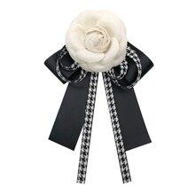 Vintage Camellia Brooch Fabirc Bow Bowties Ribbon Pins Art Dresses Suit Decor for Women Female Collar Necktie Accessories