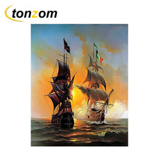 RIHE Sunset Ocean Diy Painting By Numbers Boat Sailing Oil Cuadros Decoracion Acrylic Paint On Canvas Modern Wall Art