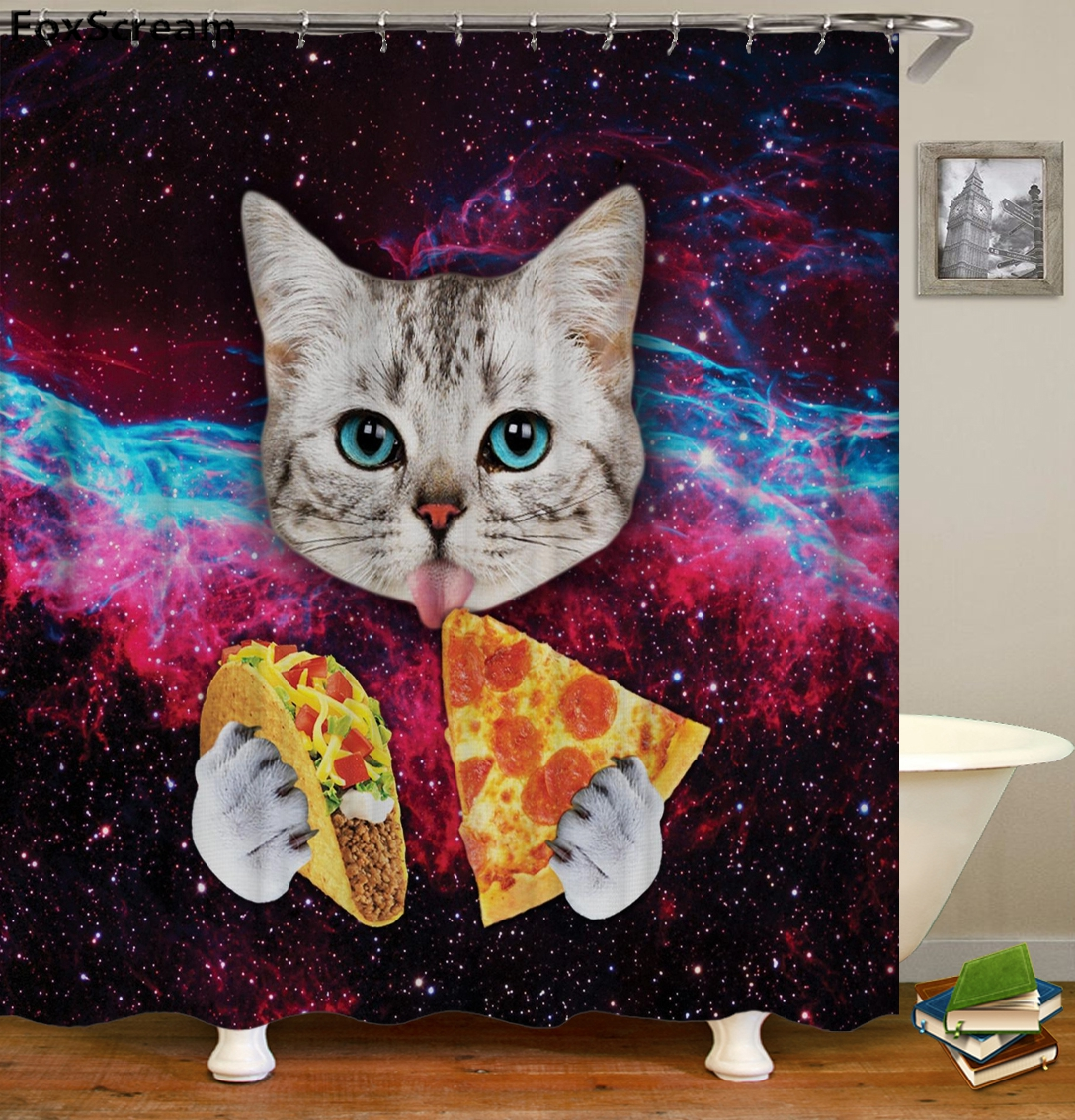 Cat Bath Shower Curtain Funny Star Space Waterproof Curtains Bathroom Fabric For In From Home