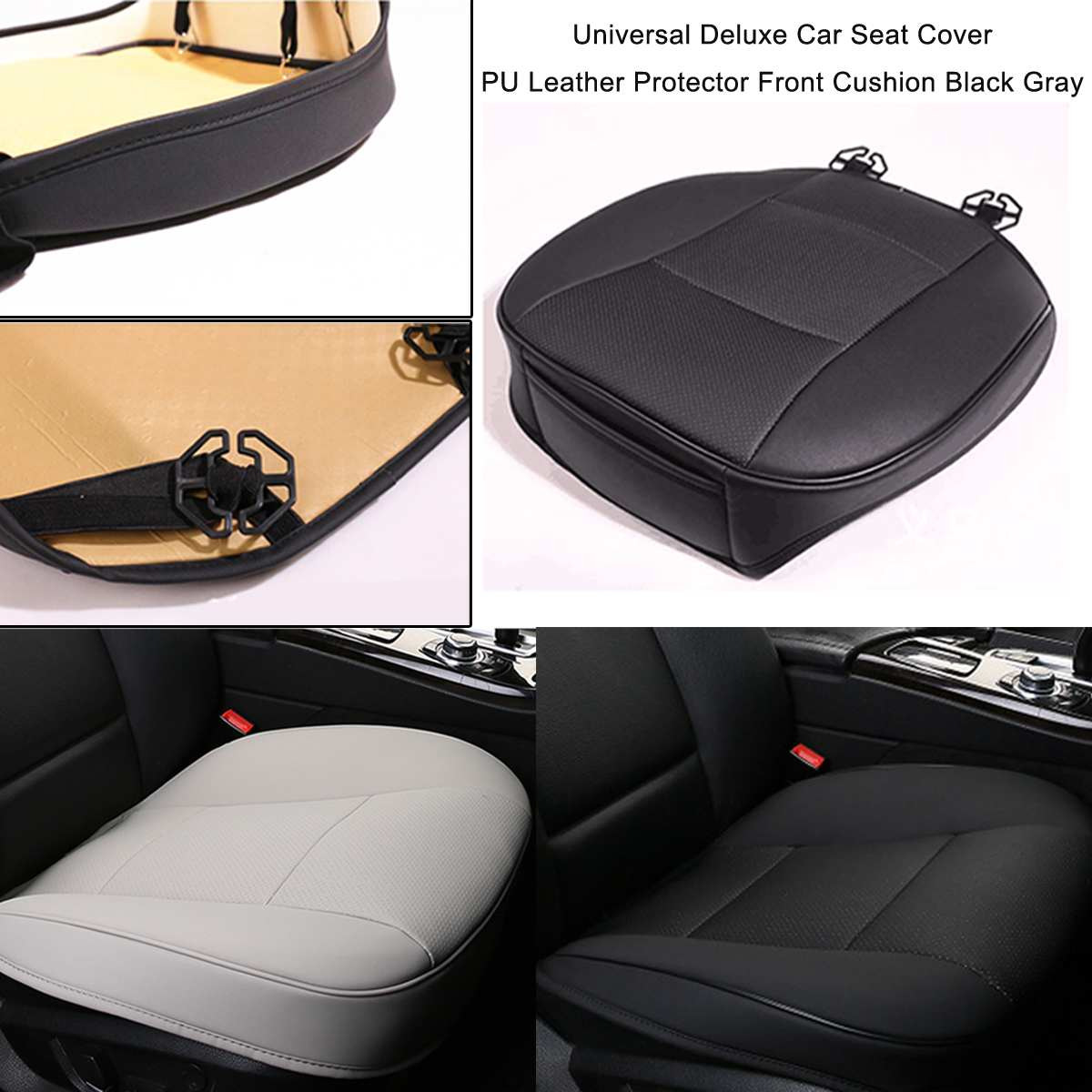 sourcing map 2 Pcs Auto Hook Loop Fastener Black Faux Leather Seat Belt Covers for Auto