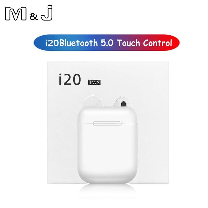 2019 nova i20 tws bluetooth 5.0 fone de ouvido sem fio sweatproof toque fones para o transporte da gota i10 i12 i60 i80 i100 tws