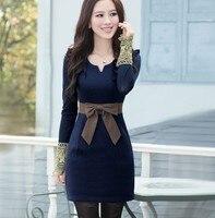 2016 Bleu, Vert, Rouge, Orange S, M, L, XL, XXL, 3 XXXL mode réservoir femme robe d'hiver plus la taille de laine kneelength sans manches femmes robe