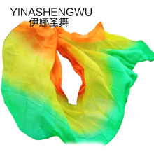 New 100% Silk Belly Dance Veils Practice Performance green+yellow+orange