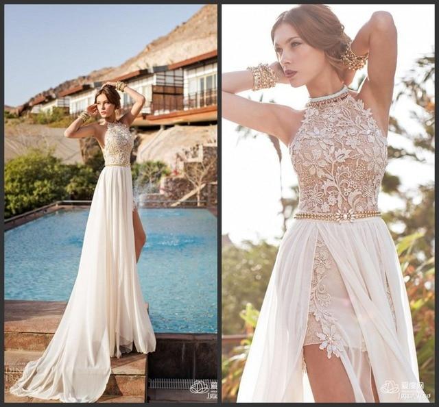Us 129 0 Julie Vino Summer Beach Wedding Dresses Halter Backless Lace Top Detachable Train Bride Dress Gown Juli001 In Wedding Dresses From Weddings
